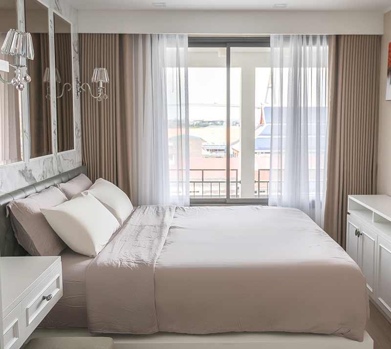 rèm phòng ngủ màu kem