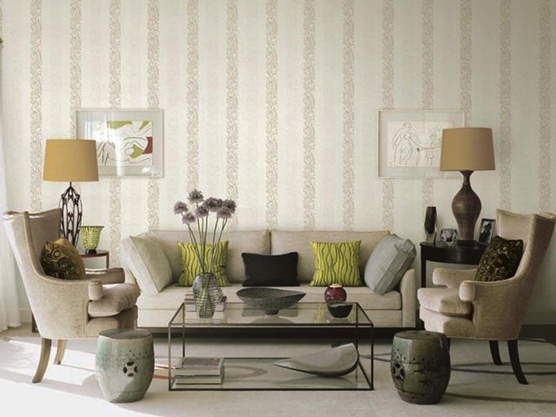 chọn giấy dán tường phòng khách sọc dọc