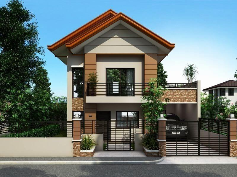 nhà 2 tầng 1 tum gỗ và kính