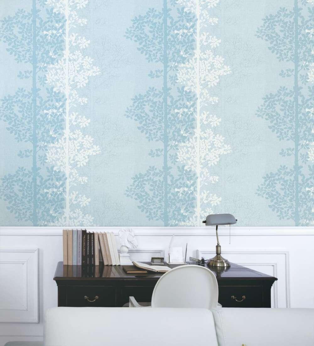 Giấy dán tường màu xanh họa tiết đơn giản
