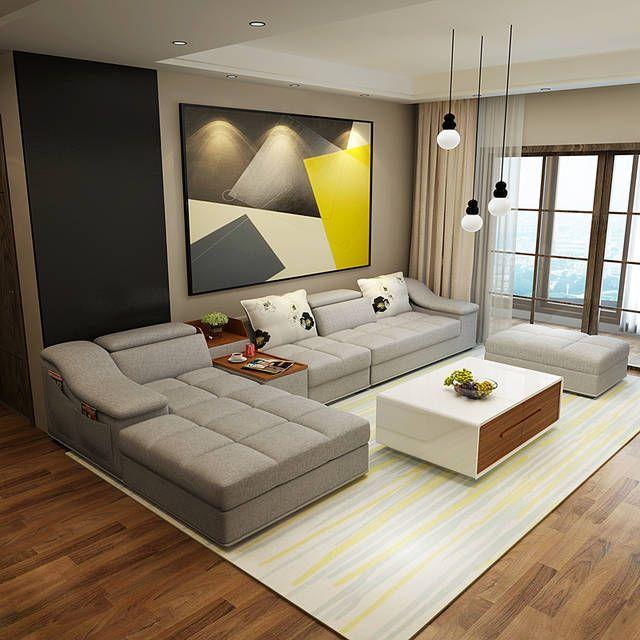 Mẫu thiết kế nội thất phòng khách kết hợp màu trắng, xám và đen