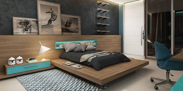 trang trí phòng ngủ tone màu trầm