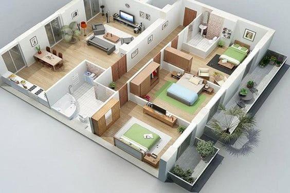 bản vẽ nhà cấp 4 mái truyền thống 3 phòng ngủ