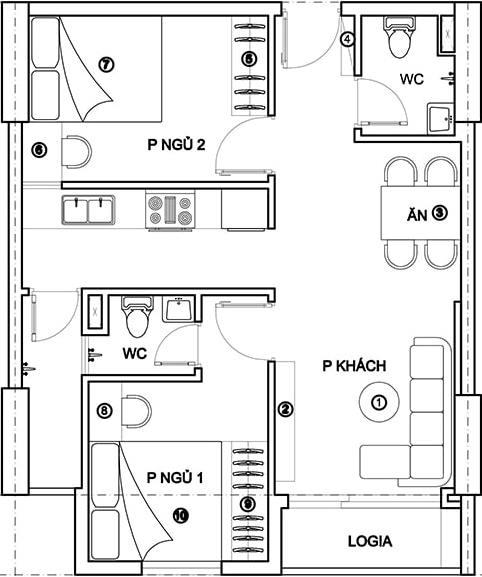 bản vẽ nhà cấp 4 5x20 2 phòng ngủ