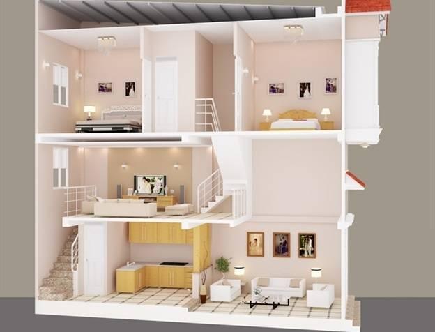 nhà 2 tầng gác lửng 2 phòng ngủ