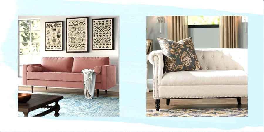 sofa màu hồng và màu trắng