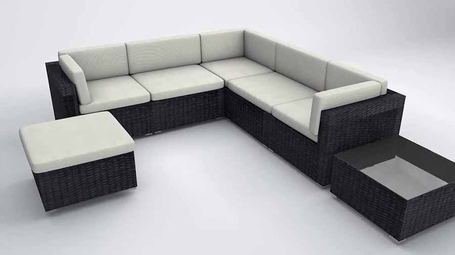 ghế chữ l màu đen và màu trắng