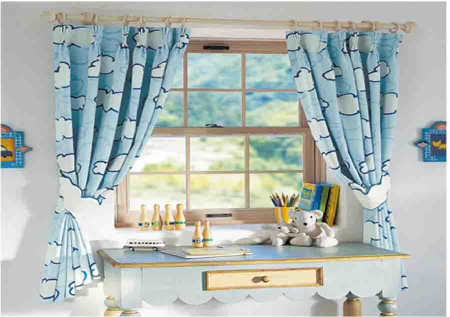 rèm vải màu xanh nước biển