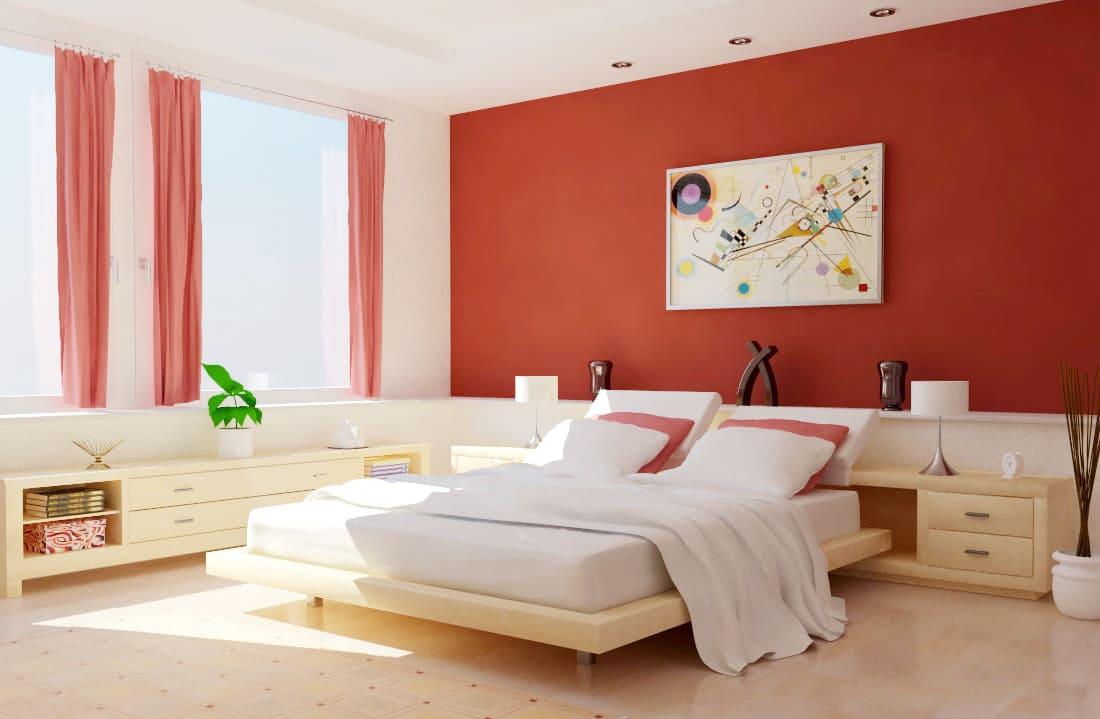 sơn phòng ngủ màu đỏ